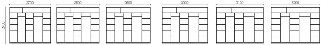 Размерный ряд четырехдверных шкафов-купе