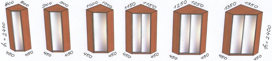 Размерный ряд скошенных угловых шкафов-купе