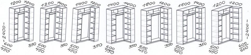 Размерный ряд угловых шкафов-купе