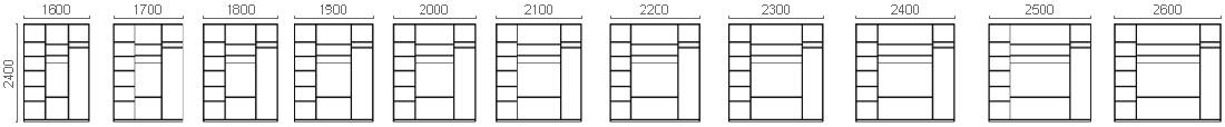 Размерный ряд  шкафов-купе с нишей под ТВ