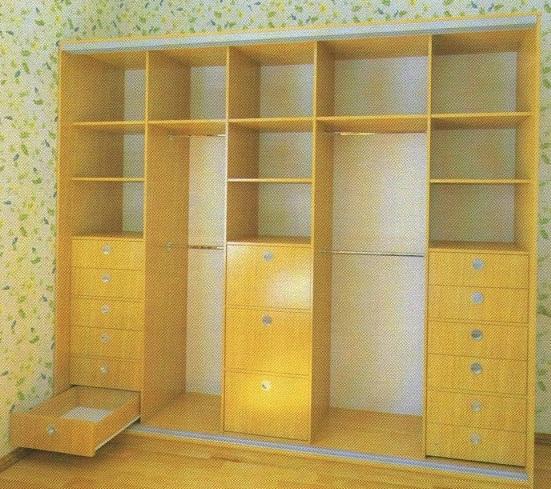 Наполнение шкафа-купе 4 двери: ящики (дополнительные ящики - по желанию)