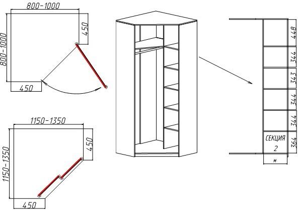 Схема наполнения скошенного углового шкафа-купе