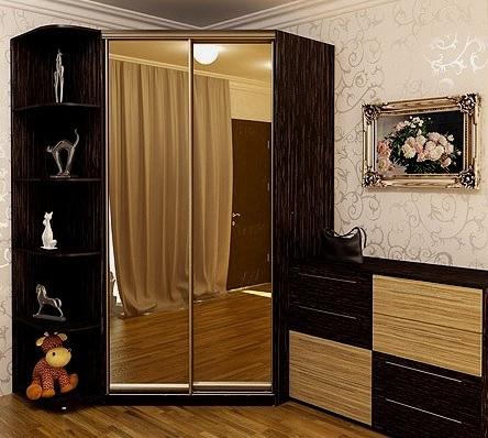Скошенный угловой шкаф-купе: зеркало + венге